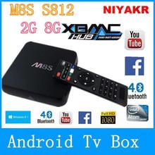M8s mais Quad core Android TV Box Amlogic S812 2 G / 8 G construir em WiFi Bluetooth 4.0 Android 4.4 caixa