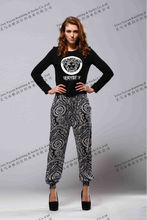 ladies pants and trousers with colored printed elastic bottom leggings