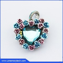 Flower heart shaped crystal pendant usb pen drive bulk cheap flash drive pen usb jewelery
