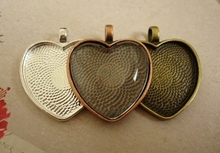 ~heart pendant trays ~ silver bronze copper art inspirational word jewelry making ~ Wholesale antique silver heart bezel setting