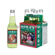 Customized Cardboard 4 Pack Beer Carrier, Bottle Carrier, Wine Carrier