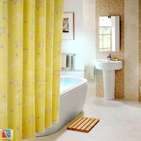 Starfish pattern yellow shower curtain polyester bathroom ocean curtain design 2015 eyelets grommets metal eyelet