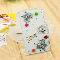 3d butterfly rhinestone leather for nokia lumia 625 cover case