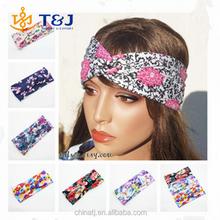 Summer Style Boho Floral Head Wrap for Yoga , Cheap Cotton Fancy Ladies Head Wraps