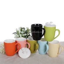 400ml 14oz New Ceramic coffee mug with lid tea cup with cover colored hot sale