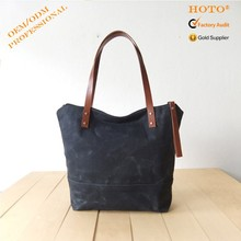 Made In China Unisex Tote Canvas Bag Fashion Tote Bags Wholesale Black Canvas Bags With Leather Handles