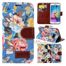 new case for samsung s6, for samsung galaxy s6 leather case with flower print, flip case for samsung s6 with card slots