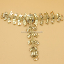 golden color rhinestone shoe accessories chain for sandal