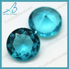 China wholesale round brilliant blue glass round stones