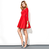 New arrival stylish red long sleeve sexy casual dress beaded puff women dress