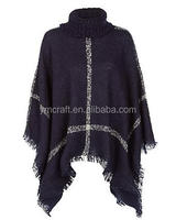 100% acrylic Checked pattern roll neck knitted poncho with fringes for women