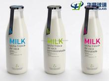 100ml 200ml 250ml 375ml 500ml 1 liter Custom made empty glass bulk fresh milk bottle with lids wholesale