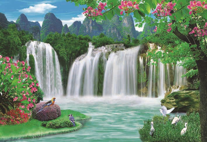 Beautiful Scenery Waterfall Paper Painting Detialed Images B7320 B954