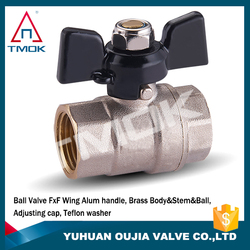 nickel plated brass stem iron nut nipple union PTFE full port BSP female thread forged PN 20 brass ball valve