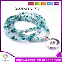 Top Quality Colorful Long Agate Beads Bracelet With Snap Button Charm DNOSA14121710