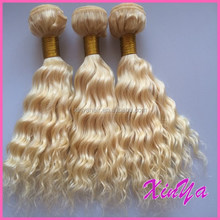 Tangle Free Grade 6A Virgin Remy hair weave blonde deep curly