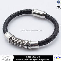 new design stock genuine leather bracelet new fashion bangle for man