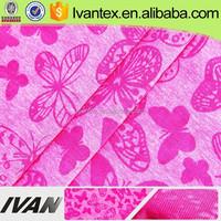 2015 hot sale fashion dress fabric knitting T/C printing burnout fabric wholesale