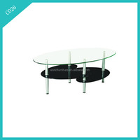 Morden Oval Clear/Black Tempered Glass Coffee Table,Glass Side Table,Center Table