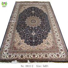 19111-2 blue / cream 5x8ft modern living room rib Oriental chinese silk rugs handmade
