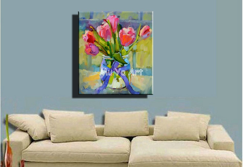 Buy Abstract modern canvas wall handpainted knife paint flower tulip oil painting on canvas for living room wall bedroom decoration cheap
