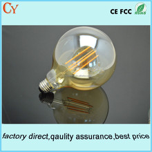 G125 6W E27/E26 long filament led global bulb amber bulb cool white led bulb