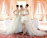 white champagne lace strapless ball gown cathedral/ royal train wedding dresses