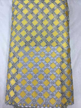 HOT SALE, HAVE STOCK!High quality African guipure lace /water soluble lace fabric /GPS03-5 YELLOW+GRAY