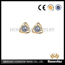 Imports high-end triangle pearl earrings for women