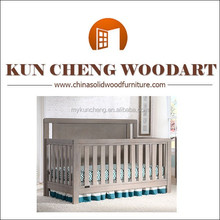 Diseño moderno convertible tamaño adulto cunas cama de madera niño cuna