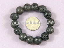 Bracelet Black Lava 14mm Round stretch