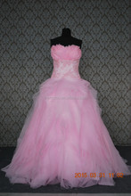 (MY0078) Fashion Satin and Organza Sweetheart Lace Appliqued Pink Wedding Dress With Fur