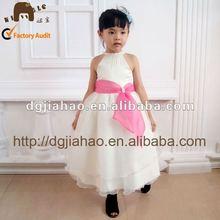 Nueva ropa de niños de diseño vestido para boda con cuello halter de de niña