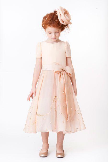 Adorável A linha O pescoço chá de comprimento Bowknot flor meninas novas 2014 crianças princesa casamento vestido de casamento frete grátis vestido de festa rosa