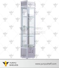 modern transparent glass revolving display cabinet