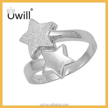 925 Silver Jewelry Oxidation Two Star Design Ring Wholesale Women And Girls Tibetan Silver Ring