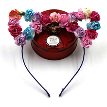 Cute Colorful Cat Ear Hairband Paper Flower Metal Headband Crown For Festival