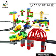 AS316-1 3D building bridge blocks freight transportation center funny train toy for boy