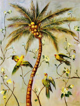 High Quality Pure Hand-painted Beautiful Flowers Bird Tree Oil Paintings