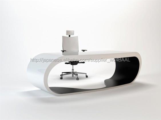 ハイエンド人工人造石近代的なオフィス局固体表面半円形のオフィスの机