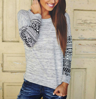 2015 Fashion New Women's Long Sleeve tShirt Loose Patchwork Cotton Tops Lady Casual Blouse