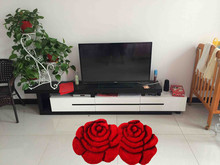Best sell big rose design 3D shaggy 300D silk rug with high quality