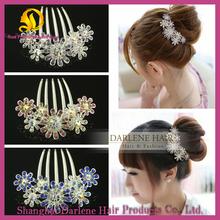 Flower Shaped Rhinestone Alloy Decorative Hair Combs CS01 aliexpress girls hair accessory