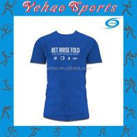 Custom high quality blue women men plain stretch print 100 cotton t shirt