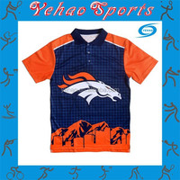 Sublimated orange and blue polo shirt with custom pattern