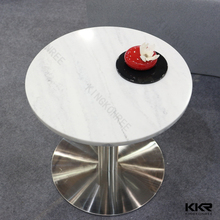 restaurant table , solid surface table top , stainless steel table base