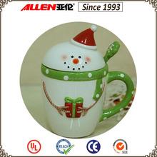 "6.0"" snowman christmas ceramic coffee mug with lid, ceramic coffee mug with spoon"