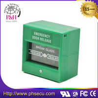 Green Color Double Pole 12V Fire square Door Emergency Break Glass