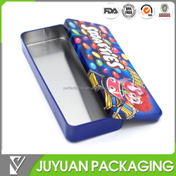 Top grade new product Flat decorative tin pencil case with lid removeable