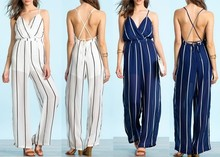 Custom design 2015 striped white long jumpsuit romper cheap jumpsuit for women